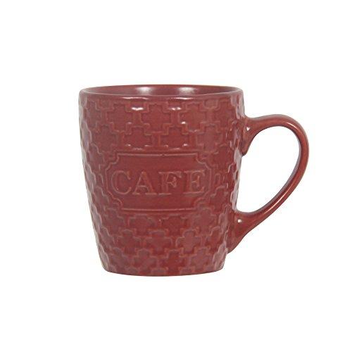 Novastyl 8018248 Gaufrette Lot de 6 Tasses a café Céramique Rouge 9,8 x 7,2 x 7,8 cm