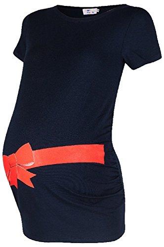 Happy Mama. Femme chemise T-shirt tee top grossesse imprimé noeud cadeau. 033p Marine