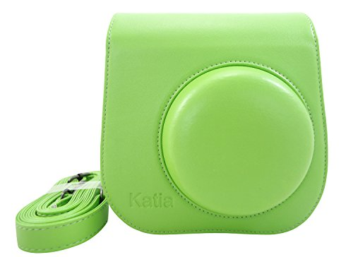 Katia Caso de cuero de la PU Instax Mini 8 Cámara Bolsa de Fujifilm Instax Mini 8 con correa para el hombro y bolsillo - Verde