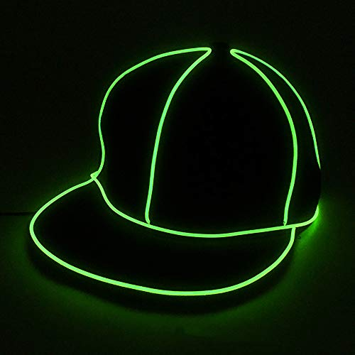 Männliche Kostüm Baseball - Yaal LED Leuchtende Hut, Kostüm Neon Hip Hop Baseball Cap EL Cap Cold Light Festival Party Dance Für Hochzeitsdekoration Street Dancer Party,Green