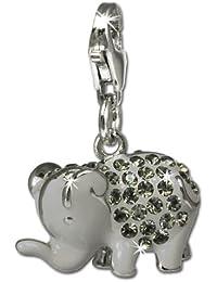 SilberDream scintillement bijoux - Charm éléphant gris - Femme - Argent 925/1000 - tchèques cristaux Preciosa - scintillement Charms - GSC510K