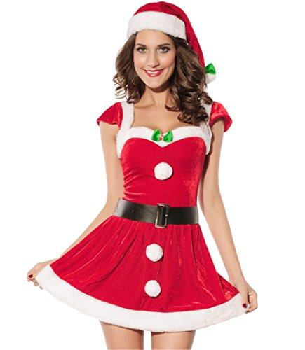 exy rotes Weihnachtskostüm für Baby-Frauen mit Gürtel (Sexy Weihnachtskostüme Für Frauen)