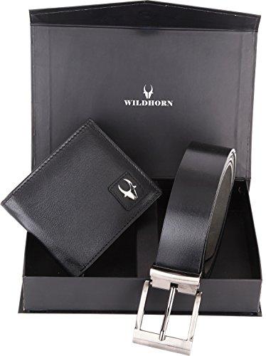 Wildhorn Combo of Men's Black Wallet & Belt