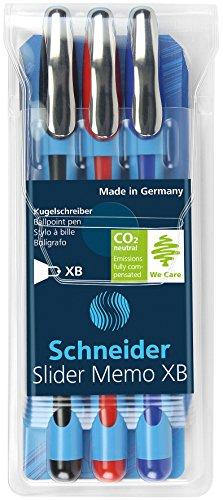 Schneider 150293 Slider Memo XB Kugelschreiber (mit Kappe, Strichstärke: XB, Schreibfarbe: rot/schwarz/blau, Made in Germany) 3er Etui