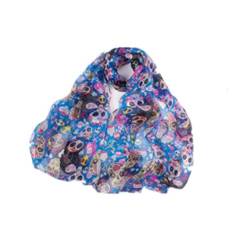 (Huihuger Scarf Frauen Skelett Print Schal leichte Schal Wrap Seidenschal für alle Jahreszeiten (Farbe : As shown, Größe : Einheitsgröße))