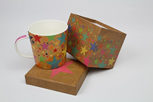Kaffee Tee Becher Tasse Sterne bunt in Box aus Deutschland groß Porzellan Keramik echter Blickfang und Lieblingstasse Geburtstage Geschenkidee (Groß Kaffee Becher Bunt)