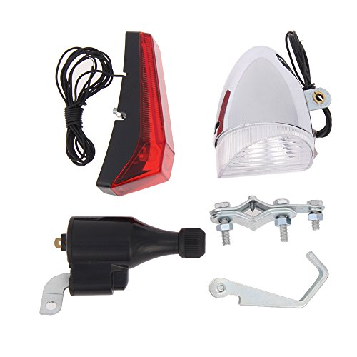 Demiawaking, set di luci per biciclette alimentato a dinamo: fanale anteriore e posteriore