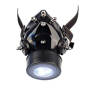 MB-Müller 87339-001-000 - Máscara de gas con pinchos y luz LED, unisex, color negro