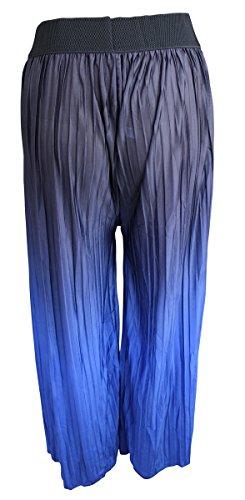 Damen Einheitsgröße Luxus Pumphose Strandhose Hose Haremhose Übergröße Blau