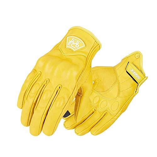 Uomini motociclo guanti pelle touch screen durevole moto guanti vintage motocross motocicletta da corsa guanti retro giallo
