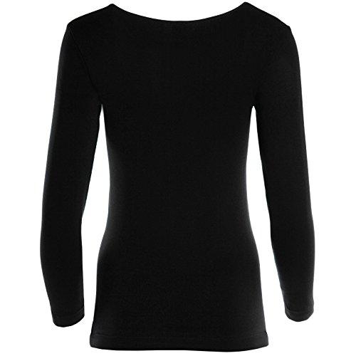 Damen Oberteil Langarm Loose Bluse Rundhals T Shirt Lang Basic Tunika Hemd 20942 Schwarz