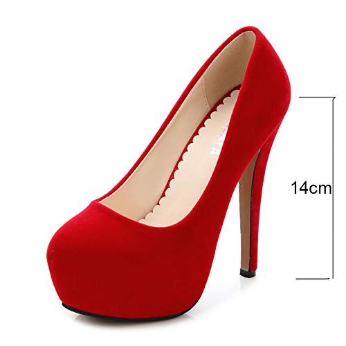 GRHWTAS Plus Größe 46 Frau pumpt Gummi Bottom High Heels Schuh Herde Plattformen Pumpe Wildleder Classic Lady Party große Schuhe -