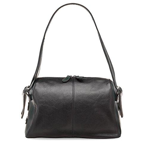 TAMARIS PASCALE Damen Handtasche, Baguette Bag, Bicolour, 2 Farben: schwarz-chestnut braun oder schwarz-oliv grün, Farbe:schwarz-grün