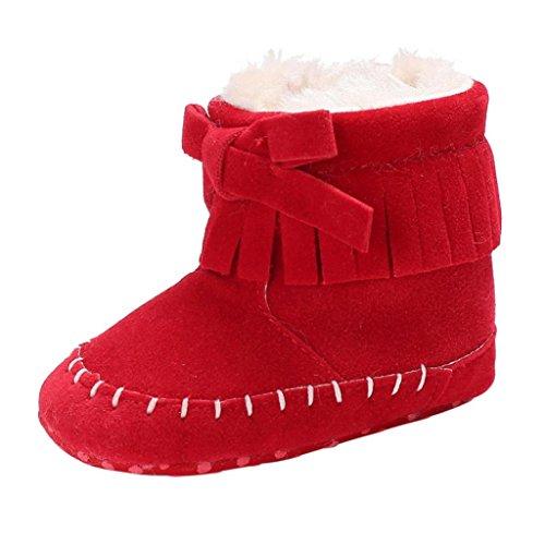 SHOBDW Baby-weiche Sole-Beuten-Schnee-Aufladungen Säuglingskleinkind-Neugeborene, die Schuhe schuhe (0 ~ 6 Monate, Rot)