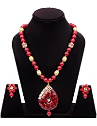 Aabhu Stone Beaded Handmade Traditional Long Necklace Tibetan Jewllery Set Haram Mala With Earrings For Girls...