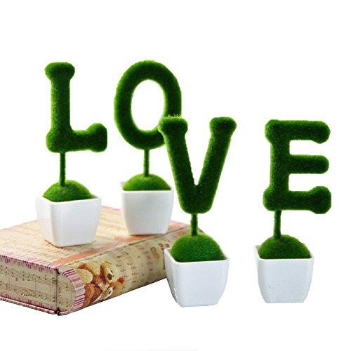 Doolland creative prato artificiale decorativo finta erba verde Greenery simulazione decorazione materiale in fibra di nylon con vaso in plastica per interni ed esterni appeso ornamenti decorazione di nozze da balcone, Green, LOVE
