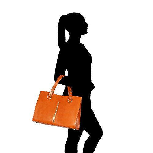 Sac à main femme en cuir véritable Fabriqué en Italie Chicca Borse 38x27x12 Cm bronzer