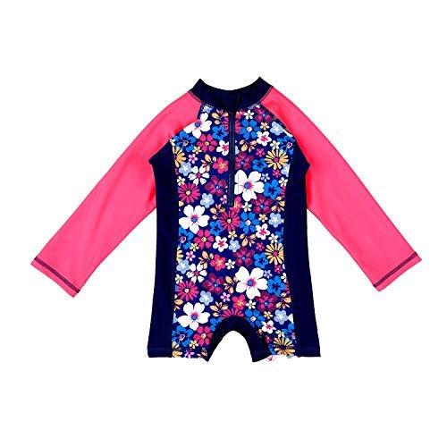 Attraco Baby Mädchen Jungen Rash Vest UV-Einteiler Rash Guard Bademode UPF 50+ Gr. 24-36 Monate, Floral Red