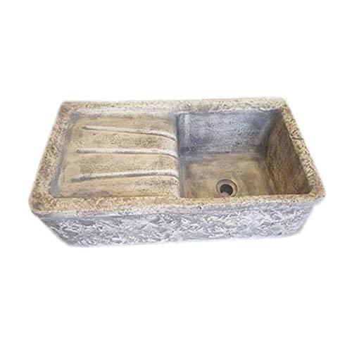 Mondo artistica lavello lavabo lavandino in polvere di marmo da giardino - misura cm 80x40x20 sfumato grigio made in italy