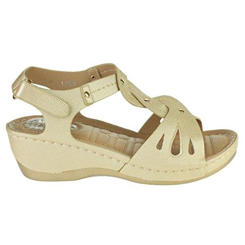 Frau Damen Offener Zeh Komfort Jeden Tag Gepolstert Atmungsaktiv Futter Weich Casual Keilabsatz Sandalen Schuhe Größe Gold