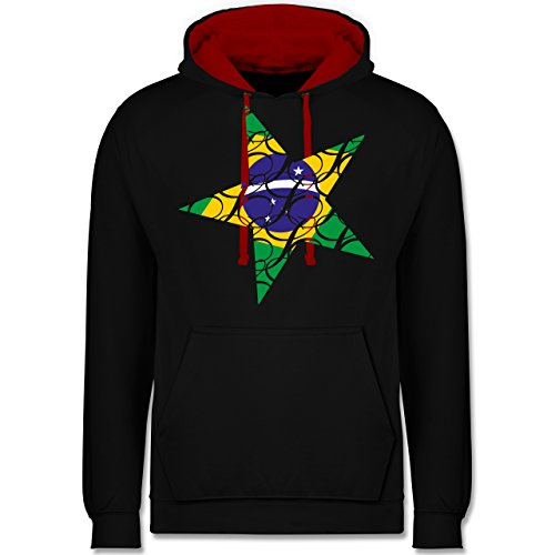 Länder - Brasilien Stern - Kontrast Hoodie Schwarz/Rot
