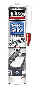 Rubson 1712525 Mastic Silicone Salle de Bain Saine - Coloris Granite Gris Foncé - Cartouche 280 ml
