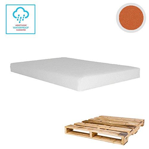 Arketicom Pallet One CHEOPE - Cojin Asiento para Sofa en Euro Palet con tejido para Exterior Impermeable y Desenfundable - interior Espuma de Poliuretano Alta Densidad Made In Italy Hecho a ManoMedidas 80x60x10 Cm: Color 417-Saffron