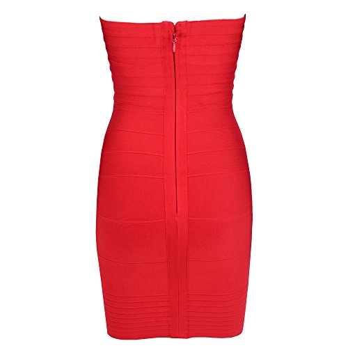HLBandage Women's Rayon Strapless Stretch Party Bandage Dress Gros Rouge