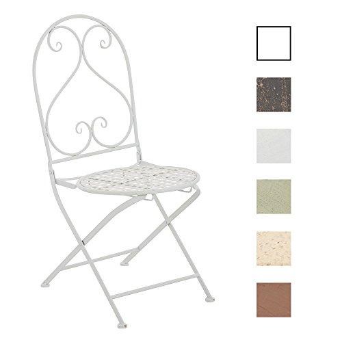 CLP Eisen-Klappstuhl VAHAN Design I Klappbarer Gartenstuhl mit edlen Verzierungen I erhältlich Antik Creme