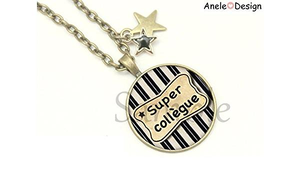 Audacieux Collier Super Collègue etoile cadeau - noir blanc perles original SP-17