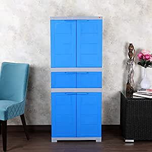 CelloNoveltyTriplex Plastic Cupboard with 4 Shelves(Blue and Grey)