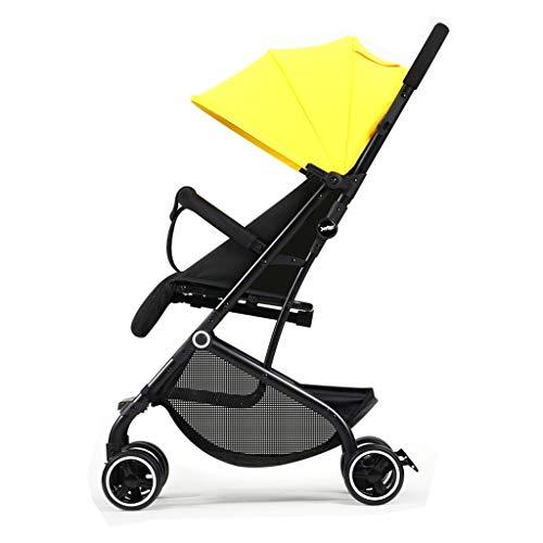Passeggino Leggero e alla Moda Alto Paesaggio può sedersi e sdraiarsi Cintura a Cinque Punti Passeggino (Color : Yellow)