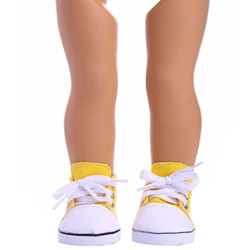 Mingfa Puppenschuhe, Sneakers zum Schnüren aus Leinen, für 45,7-cm-Puppen (18 Zoll), z.B. Our Generation, American Girl/Boy (Schuhe Puppe Sind Generation)