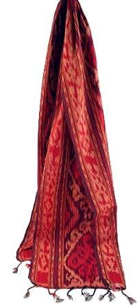 Guru-Boutique, IkatTuch Bali, Rouge, Coton, Size:Taille Unique, 180x40 cm, Chiffons, Tissus Batik, des Foulards Colorés