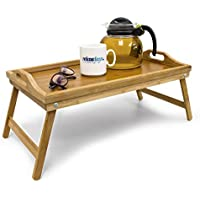Relaxdays Bamboo Wooden Breakfast in Bed Tray, 21.5 x 47 x 27 cm, Serving Tray With Folding Legs And Handles, Natural Brown