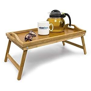 Relaxdays Plateau de lit pliable en bambou table d'appoint pliante avec 2 poignées HxlxP: 21,5 x 47 x 27 cm tablette pour le petit-déjeuner en bois de bambou table de genoux canapé sofa, nature