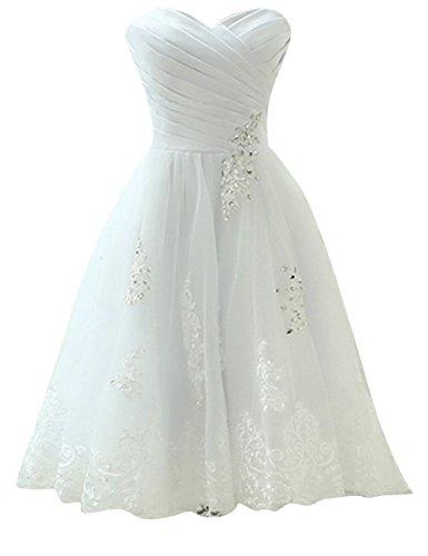 Brautkleid Hochzeitskleider Knielang Damen Kleid A Linie Organza mit Applikationen Weiß EUR38