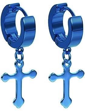 Flongo Ohrringe, Edelstahl Ohrstecker Creolen Ohrringe Ohrhänger Silber Schwarz Blau Gold Golden Klassiker Kreuz...