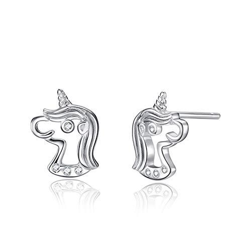 Bisuteria Pendientes unicornio plata de ley 925, Pequeños Baratos aretes Joyero Regalos de unicornios para infantiles niñas, y mujer Unicorn earrings Niños Joyería Juguete. Lindo arete