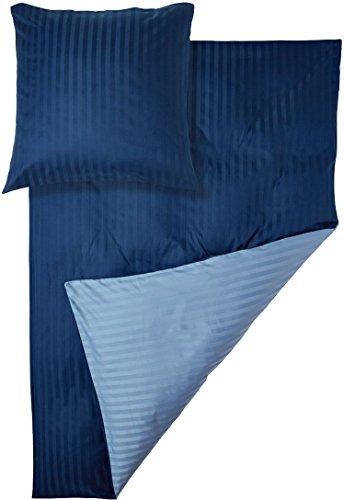 MERADISO® Luxus-Satin-Wendebettwäsche (100% Baumwolle) mit Damast Streifen (135 x 200 cm, hellblau / dunkelblau) - Damast Streifen Bettbezug