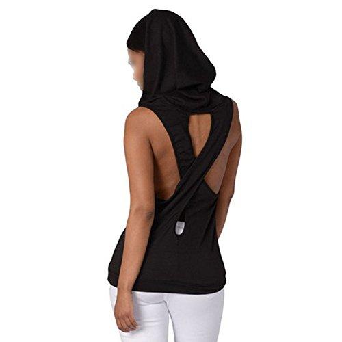Femme capuche sans manches junkai Cross Back T-Shirt débardeur Noir