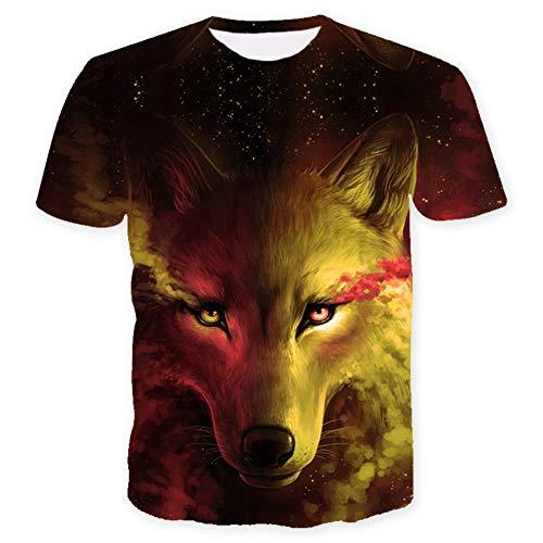 ISAAC ENGLAND Wo Licht und Dunkelheit Sich treffen T-Shirt des Wolf 3D Top T Kurzarm Rundhals T-Shirt Mode T-Shirt 4 Color-M, Gelb
