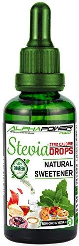 ALPHAPOWER FOOD® Original Stevia Zucker Drops, Vegan & GMO-frei, flüssiger Zuckerfreier Zuckerersatz ohne Kalorien, Liquid Süßstoff zum Tropfen ohne Geschmack 1x100ml zum Backen & Flüssigkeiten -