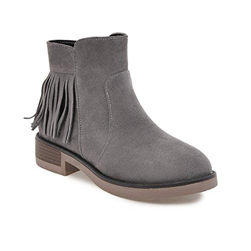 Hua & X Femmes Block High Heels Bout Rond Bottines Grandes Chaussures À Plateforme Gris