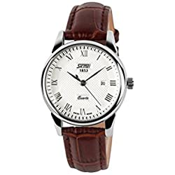 Boxing Day Women Watch Deals Classic Quartz Movement Wristwatch Leather Strap Roman Numerals Waterproof Dial (Brown Strap with Date)