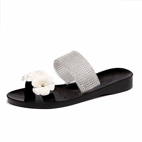 GTVERNH-Doux Doux Fleur À Fond Plat Pincée Femme Sandales Deux Portes Croûton Remorquage Orteils Pantoufles Chaussures De Plage