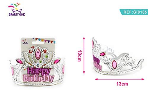 Kronen-Tiara mit Schriftzug: Happy Birthday für Prinzessin oder Königin als Zubehör für Geburtstags-Party-Girls