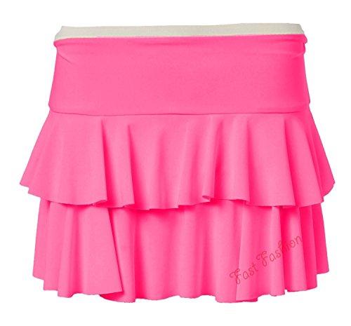 Fast Fashion Frauen Mini Rock Schöne Neon Rara Viskose Jersey Heißen (Fashion Jersey Pink)