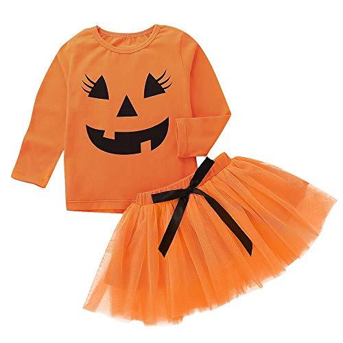 Riou Kinder Langarm Halloween Kostüm Top Set Baby Kleidung Set Kleinkind-Baby-Kürbis-Karikatur-Druck-Lange Hülsen-Oberseiten + Bogen-Rock-Ausrüstungs-Set (Orange, 110)