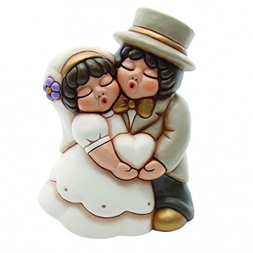 Thun® - coppia di sposini grande con cuore - regalo o bomboniere di matrimonio - ceramica - linea sposi